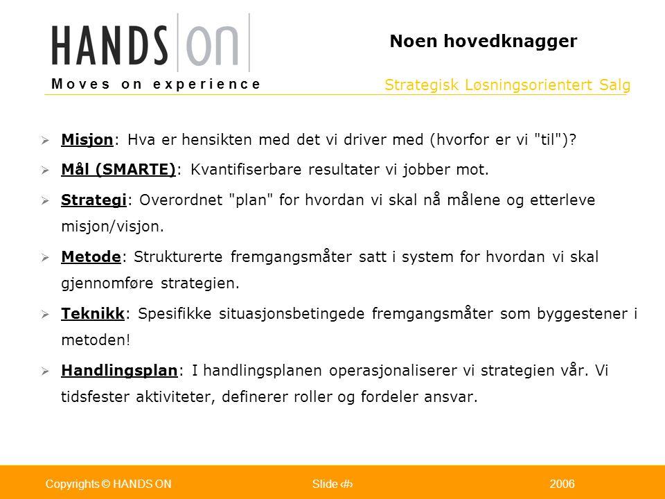 Strategisk Løsningsorientert Salg M o v e s o n e x p e r i e n c e Oslo 25.07.2001Copyrights © HANDS ONPage / Pages 72006Copyrights © HANDS ONSlide 7