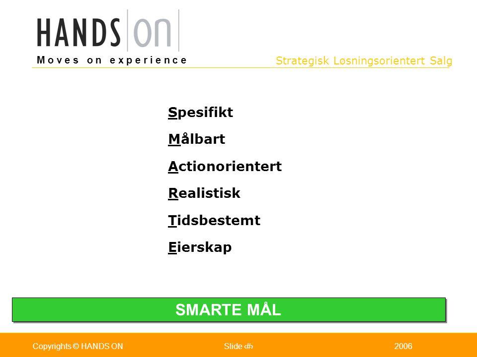 Strategisk Løsningsorientert Salg M o v e s o n e x p e r i e n c e Oslo 25.07.2001Copyrights © HANDS ONPage / Pages 82006Copyrights © HANDS ONSlide 8