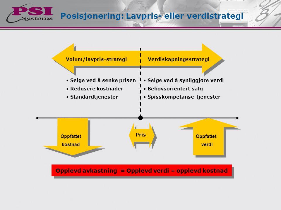 • Selge ved å synliggjøre verdi • Behovsorientert salg • Spisskompetanse-tjenester Posisjonering: Lavpris- eller verdistrategi Oppfattet kostnad Oppfa