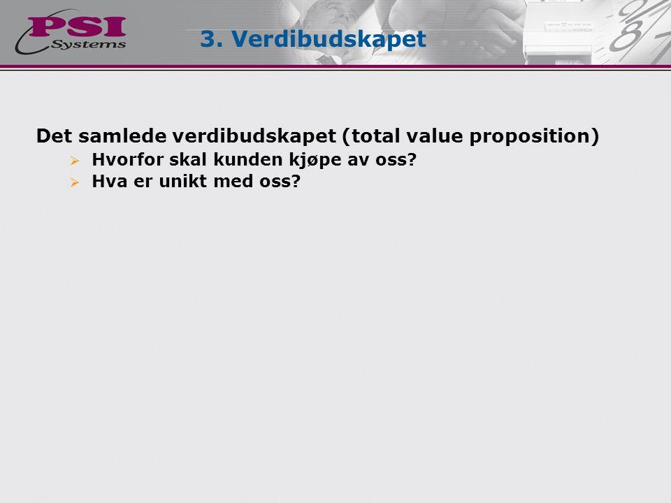 Det samlede verdibudskapet (total value proposition)  Hvorfor skal kunden kjøpe av oss?  Hva er unikt med oss? 3. Verdibudskapet