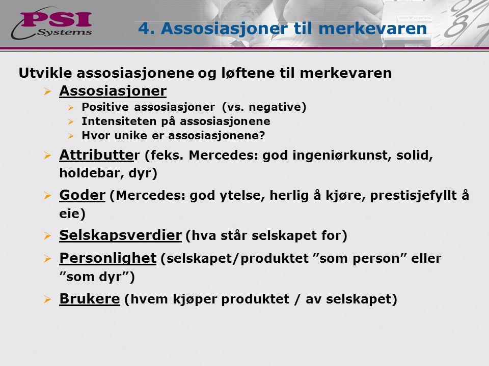 Utvikle assosiasjonene og løftene til merkevaren  Assosiasjoner  Positive assosiasjoner (vs. negative)  Intensiteten på assosiasjonene  Hvor unike