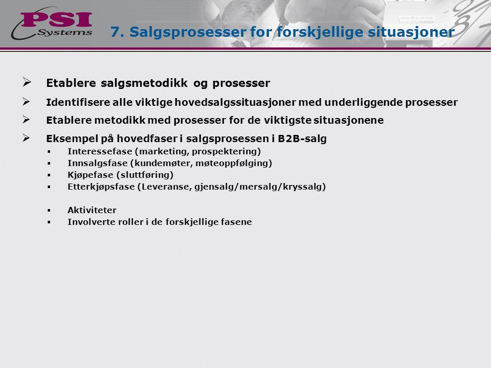  Etablere salgsmetodikk og prosesser  Identifisere alle viktige hovedsalgssituasjoner med underliggende prosesser  Etablere metodikk med prosesser