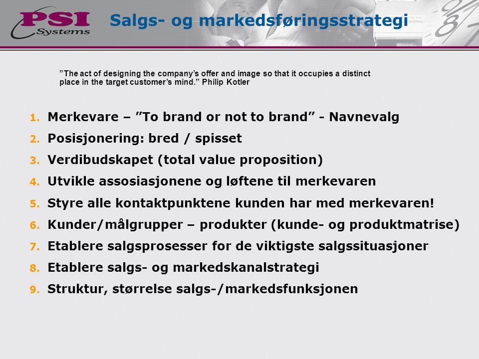 """1. Merkevare – """"To brand or not to brand"""" - Navnevalg 2. Posisjonering: bred / spisset 3. Verdibudskapet (total value proposition) 4. Utvikle assosias"""