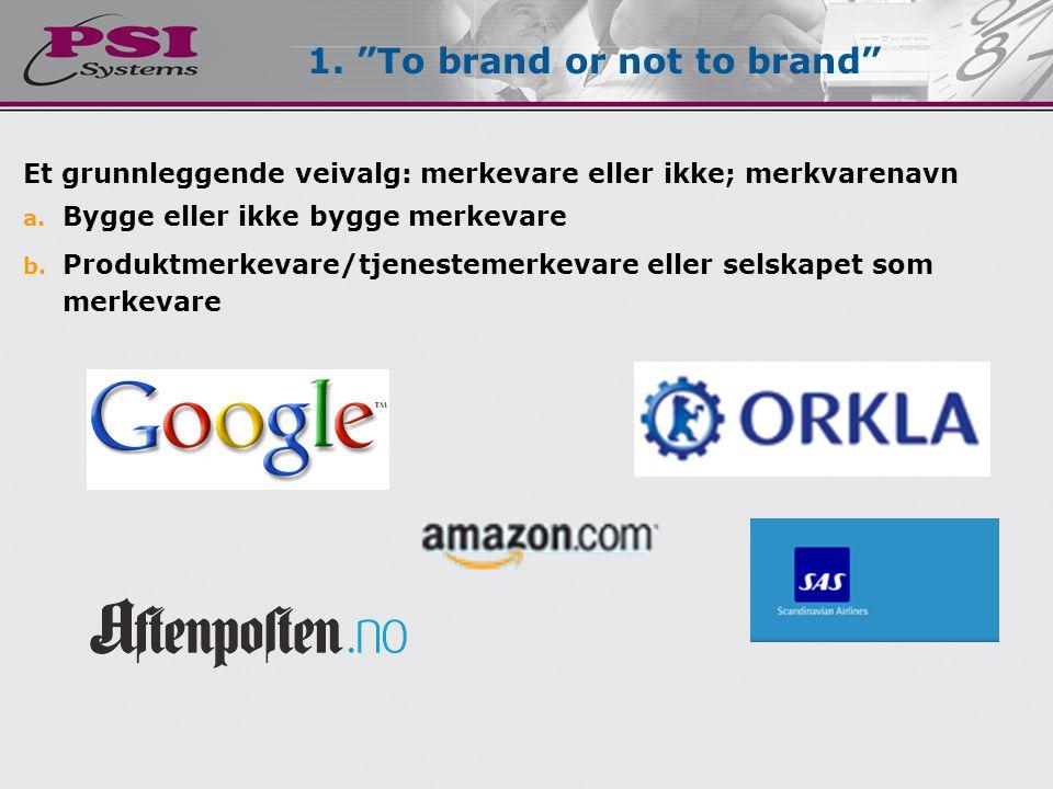 Velg et merkevarenavn  Hinte noe om produktet/selskapets goder  Hinte noen om produktet/selskapets egenskaper  Lett å uttale, kjenne igjen og huske  Unikt/distinkt  Fungere internasjonalt (språkmessig) To brand or not to brand