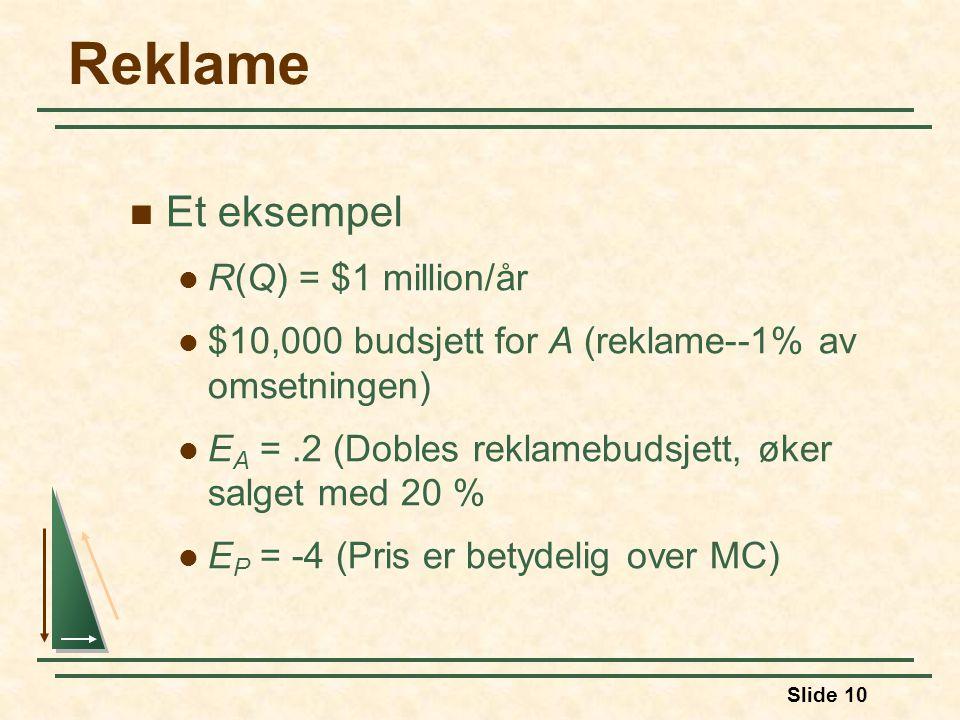 Slide 10 Reklame  Et eksempel  R(Q) = $1 million/år  $10,000 budsjett for A (reklame--1% av omsetningen)  E A =.2 (Dobles reklamebudsjett, øker salget med 20 %  E P = -4 (Pris er betydelig over MC)