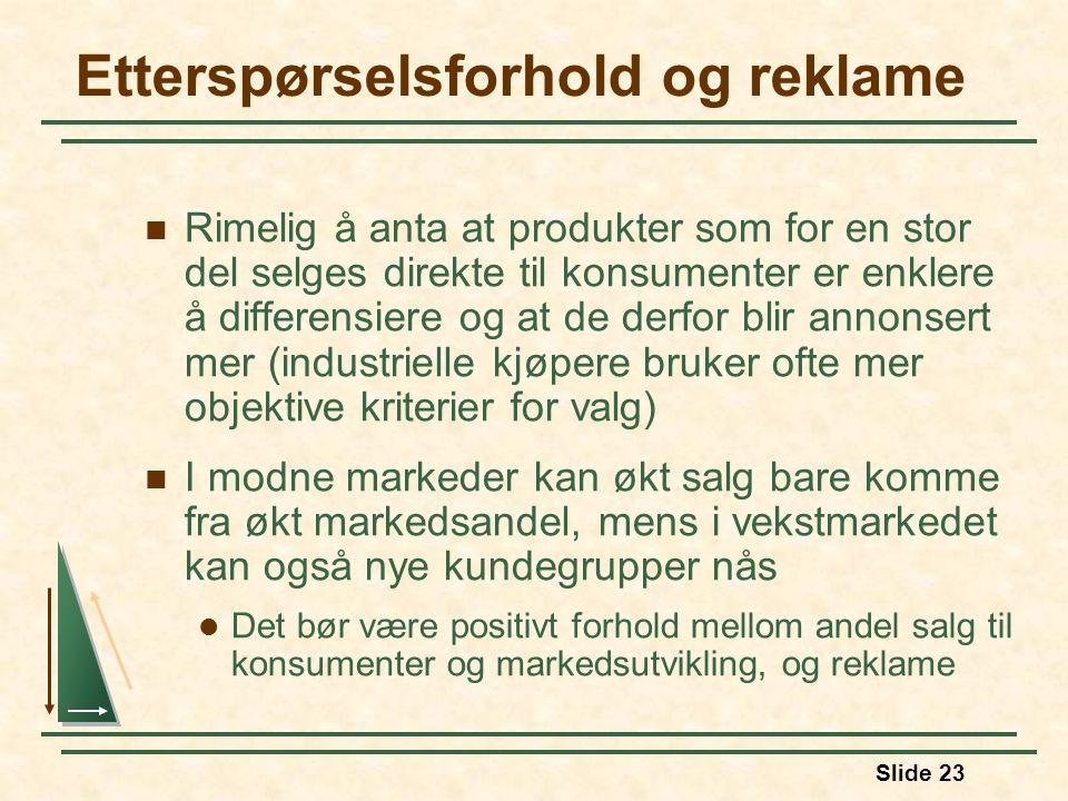 Slide 23 Etterspørselsforhold og reklame  Rimelig å anta at produkter som for en stor del selges direkte til konsumenter er enklere å differensiere og at de derfor blir annonsert mer (industrielle kjøpere bruker ofte mer objektive kriterier for valg)  I modne markeder kan økt salg bare komme fra økt markedsandel, mens i vekstmarkedet kan også nye kundegrupper nås  Det bør være positivt forhold mellom andel salg til konsumenter og markedsutvikling, og reklame