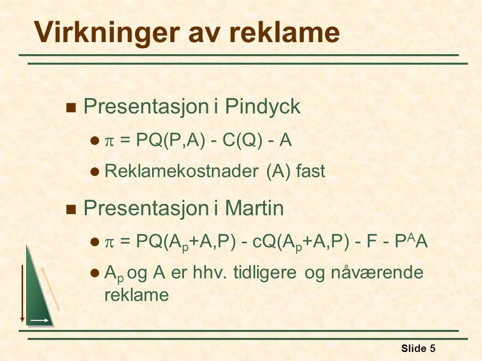 Slide 5 Virkninger av reklame  Presentasjon i Pindyck   = PQ(P,A) - C(Q) - A  Reklamekostnader (A) fast  Presentasjon i Martin   = PQ(A p +A,P) - cQ(A p +A,P) - F - P A A  A p og A er hhv.