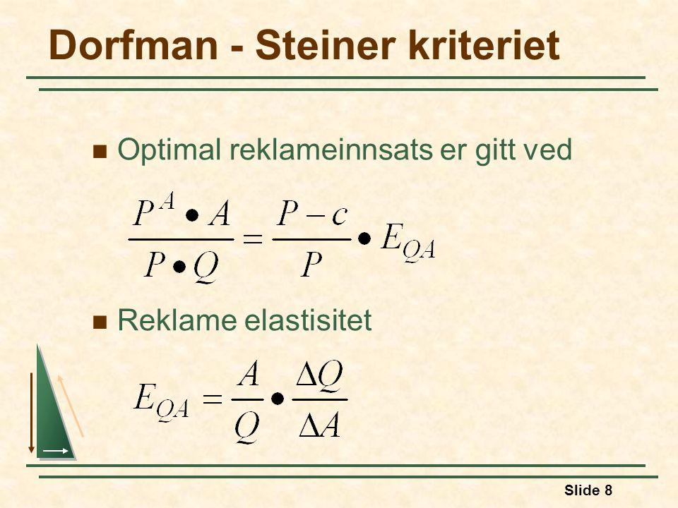 Slide 8 Dorfman - Steiner kriteriet  Optimal reklameinnsats er gitt ved  Reklame elastisitet