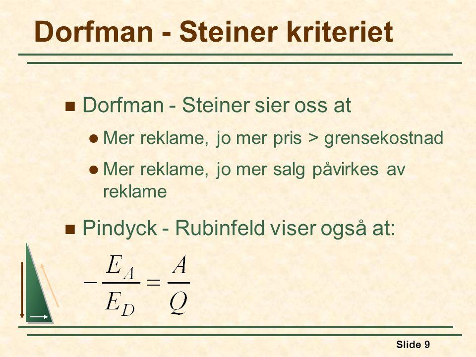 Slide 9 Dorfman - Steiner kriteriet  Dorfman - Steiner sier oss at  Mer reklame, jo mer pris > grensekostnad  Mer reklame, jo mer salg påvirkes av reklame  Pindyck - Rubinfeld viser også at: