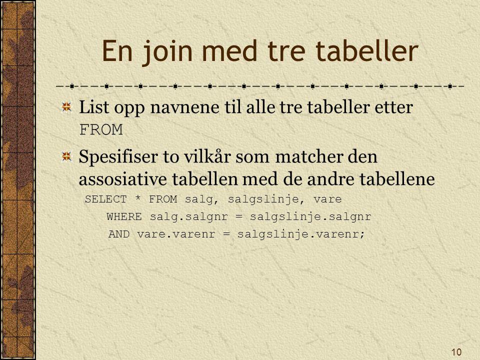 10 En join med tre tabeller List opp navnene til alle tre tabeller etter FROM Spesifiser to vilkår som matcher den assosiative tabellen med de andre t