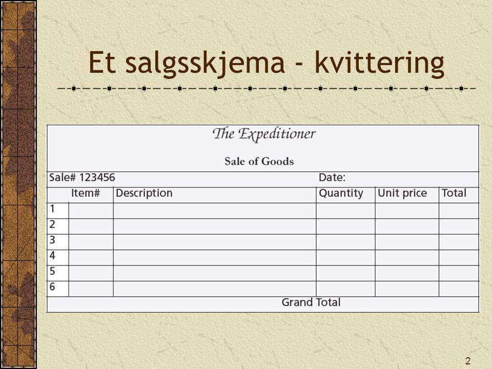 13 NOT EXISTS Returnerer true hvis tabellen ikke inneholder noen rader som stemmer med vilkåret Finn alle klesvarer (type C ) som ikke har vært solgt SELECT varenavn, varefarge FROM vare WHERE varetype = C AND NOT EXISTS (SELECT * FROM varelinje WHERE vare.varenr = varelinje.varenr); varenavnvarefarge Hat—Polar ExplorerWhite Boots—snake proofGreen Pith helmetKhaki StetsonBrown