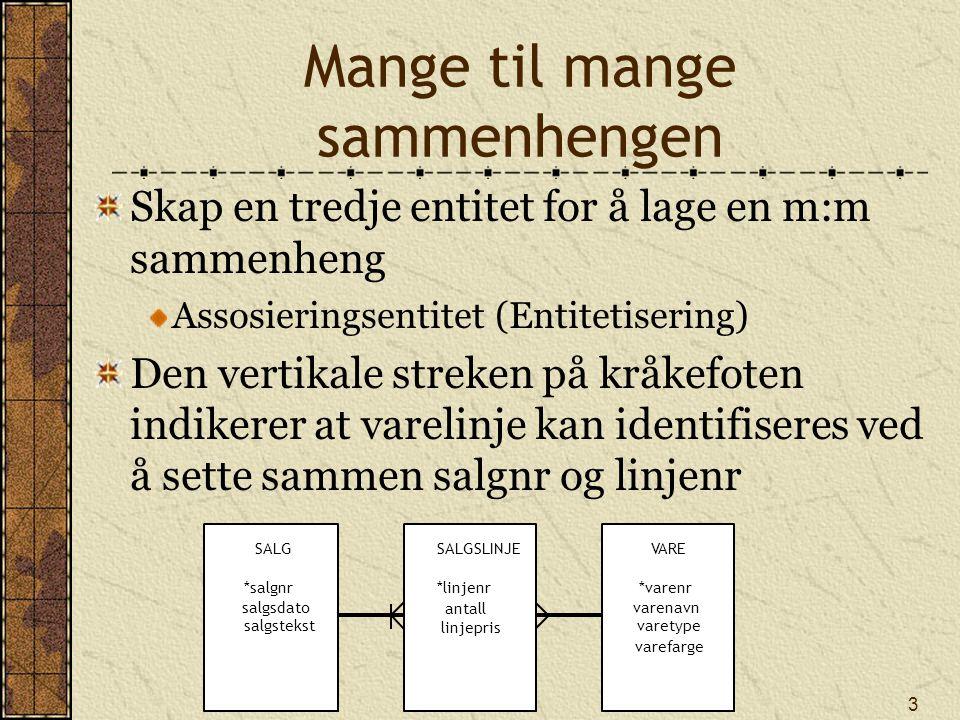 14 For alle Den universelle kvantor for alle Finnes ikke direkte i SQL Implementer ved hjelp av 2 ggr NOT EXISTS Finn alle varer som er solgt i alle salg blir Finn varer slik at det ikke eksisterer salg der varen ikke eksisterer