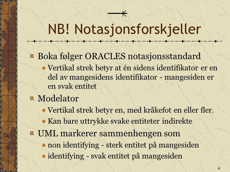 4 NB! Notasjonsforskjeller Boka følger ORACLES notasjonsstandard Vertikal strek betyr at én sidens identifikator er en del av mangesidens identifikato