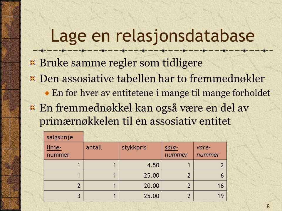 9 Lage relasjonsdatabasen CREATE TABLE salg ( salgnrNUMBER(8,0), salgsdatoDATE, salgstekstVARCHAR(50), PRIMARY KEY(salgnr)); CREATE TABLE vare ( varenrINTEGER, varenavnVARCHAR(30), varetypeCHAR(1), varefargeVARCHAR(10), PRIMARY KEY(varenr)); CREATE TABLE salgslinje ( linjenrINTEGER, antallINTEGER, prisDECIMAL(7,2), salgnrINTEGER, varenrINTEGER, PRIMARY KEY(linjenr, salgnr), CONSTRAINT fk_salgslinje_salg FOREIGN KEY(salgnr) REFERENCES salg, CONSTRAINT fk_salgslinje_vare FOREIGN KEY(varenr) REFERENCES vare);