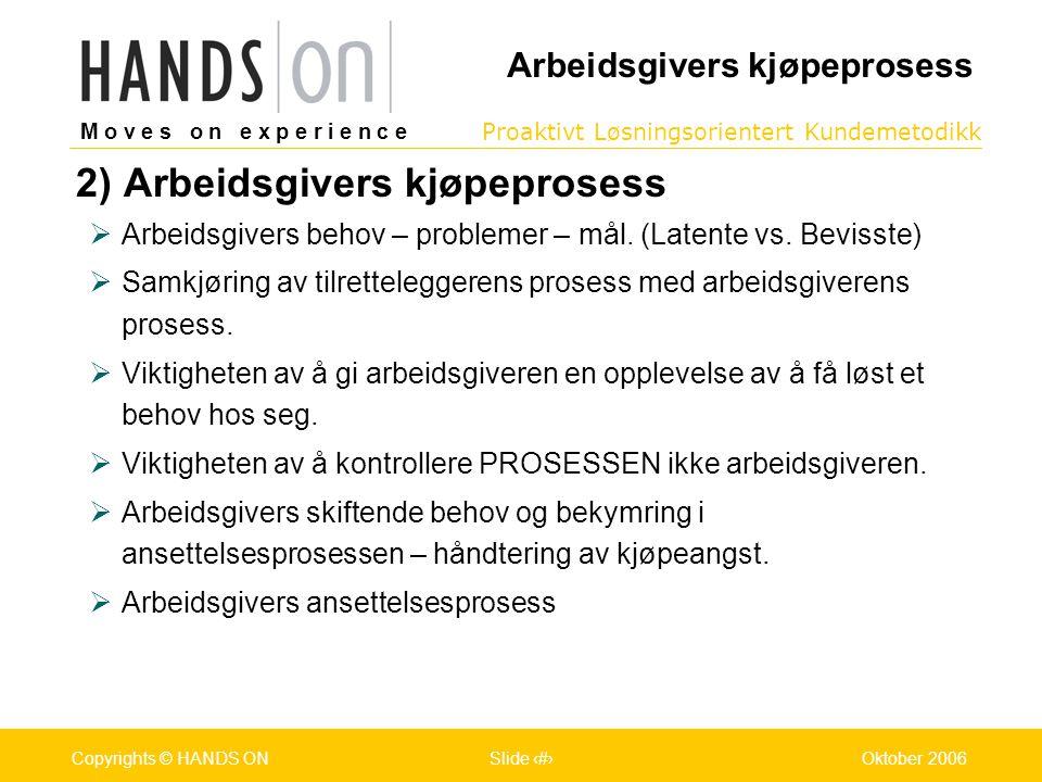 M o v e s o n e x p e r i e n c e Oslo 25.07.2001Copyrights © HANDS ONPage / Pages 12Oktober 2006Copyrights © HANDS ONSlide 12 Proaktivt Løsningsorientert Kundemetodikk M o v e s o n e x p e r i e n c e Oslo 25.07.2001Copyrights © HANDS ONPage / Pages 12Oktober 2006Copyrights © HANDS ONSlide 12 2) Arbeidsgivers kjøpeprosess  Arbeidsgivers behov – problemer – mål.
