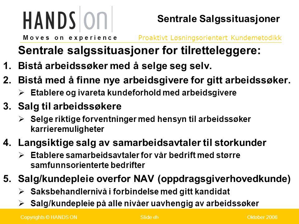 M o v e s o n e x p e r i e n c e Oslo 25.07.2001Copyrights © HANDS ONPage / Pages 6Oktober 2006Copyrights © HANDS ONSlide 6 Proaktivt Løsningsorientert Kundemetodikk M o v e s o n e x p e r i e n c e Oslo 25.07.2001Copyrights © HANDS ONPage / Pages 6Oktober 2006Copyrights © HANDS ONSlide 6 Sentrale Salgssituasjoner Sentrale salgssituasjoner for tilretteleggere:  Bistå arbeidssøker med å selge seg selv.