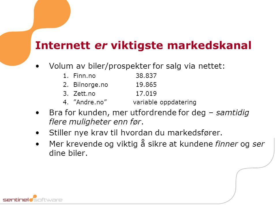"""Internett er viktigste markedskanal •Volum av biler/prospekter for salg via nettet: 1.Finn.no 38.837 2.Bilnorge.no 19.865 3.Zett.no 17.019 4.""""Andre.no"""