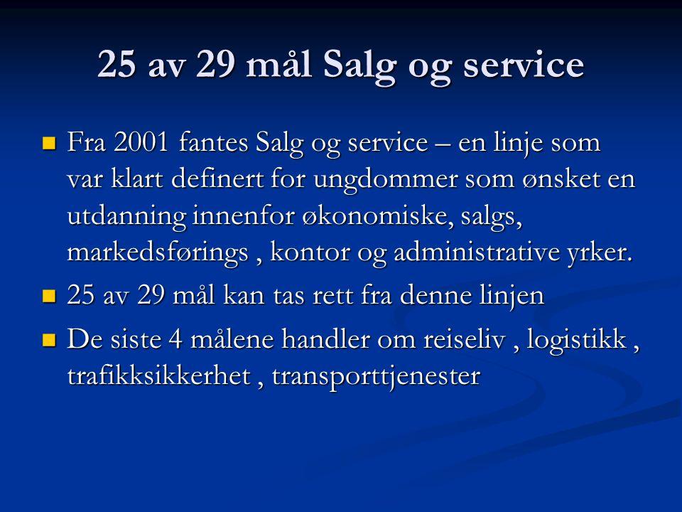 25 av 29 mål Salg og service  Fra 2001 fantes Salg og service – en linje som var klart definert for ungdommer som ønsket en utdanning innenfor økonomiske, salgs, markedsførings, kontor og administrative yrker.