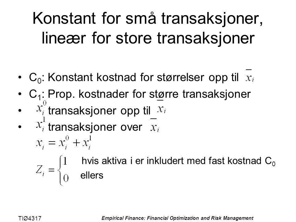 TIØ4317 Empirical Finance: Financial Optimization and Risk Management Konstant for små transaksjoner, lineær for store transaksjoner •C 0 : Konstant k