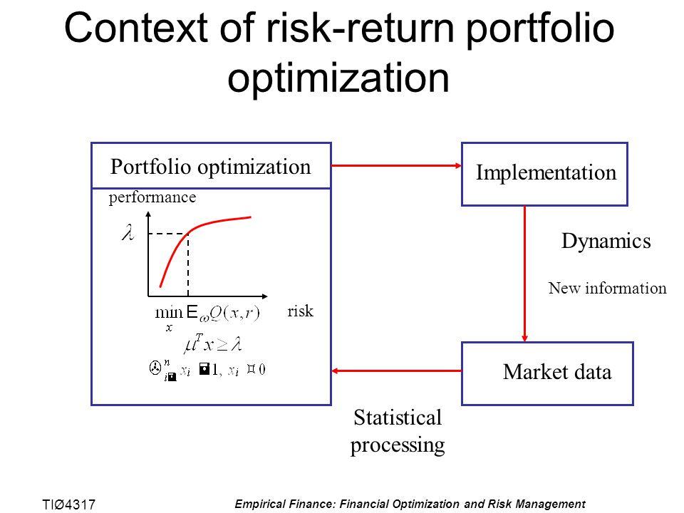 TIØ4317 Empirical Finance: Financial Optimization and Risk Management Context of risk-return portfolio optimization risk performance Portfolio optimiz