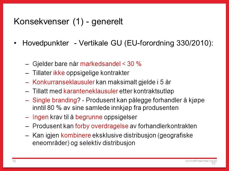 Advokatfirmaet Haavind AS 10 Konsekvenser (1) - generelt •Hovedpunkter - Vertikale GU (EU-forordning 330/2010): –Gjelder bare når markedsandel < 30 %