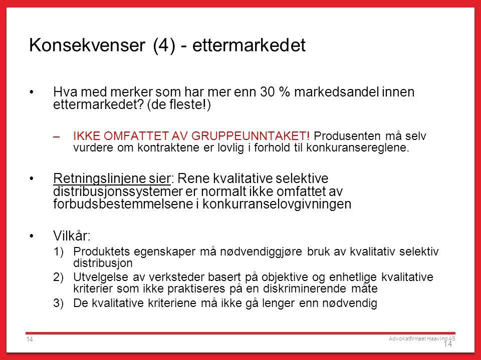 Advokatfirmaet Haavind AS 14 Konsekvenser (4) - ettermarkedet •Hva med merker som har mer enn 30 % markedsandel innen ettermarkedet? (de fleste!) –IKK