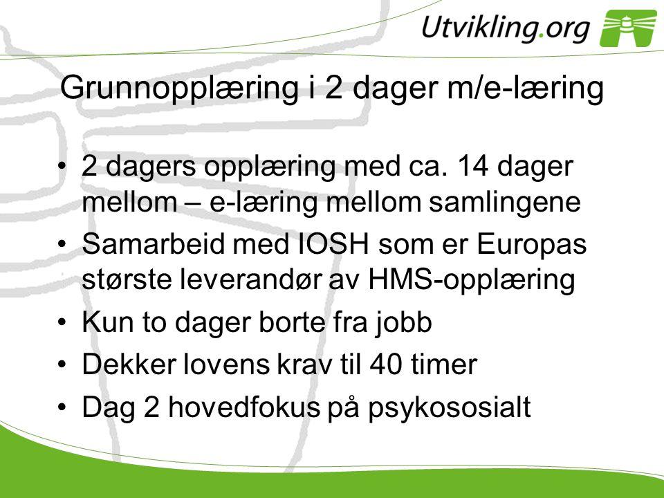 Grunnopplæring i 2 dager m/e-læring •2 dagers opplæring med ca. 14 dager mellom – e-læring mellom samlingene •Samarbeid med IOSH som er Europas størst
