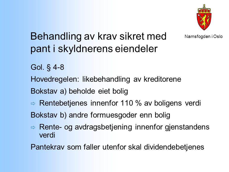 Namsfogden i Oslo Behandling av krav sikret med pant i skyldnerens eiendeler Gol. § 4-8 Hovedregelen: likebehandling av kreditorene Bokstav a) beholde