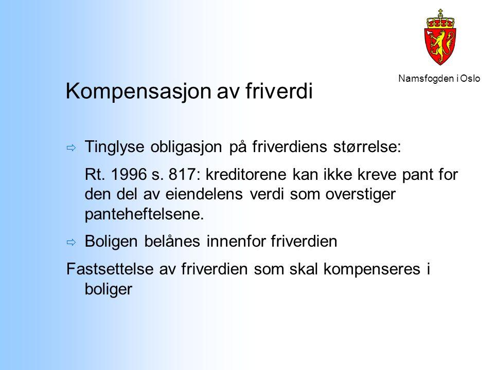 Namsfogden i Oslo Kompensasjon av friverdi  Tinglyse obligasjon på friverdiens størrelse: Rt. 1996 s. 817: kreditorene kan ikke kreve pant for den de