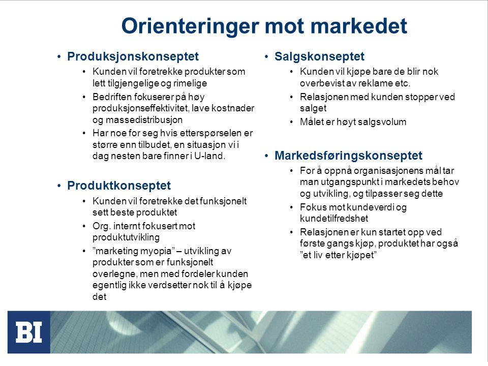 Orienteringer mot markedet • Produksjonskonseptet • Kunden vil foretrekke produkter som lett tilgjengelige og rimelige • Bedriften fokuserer på høy pr