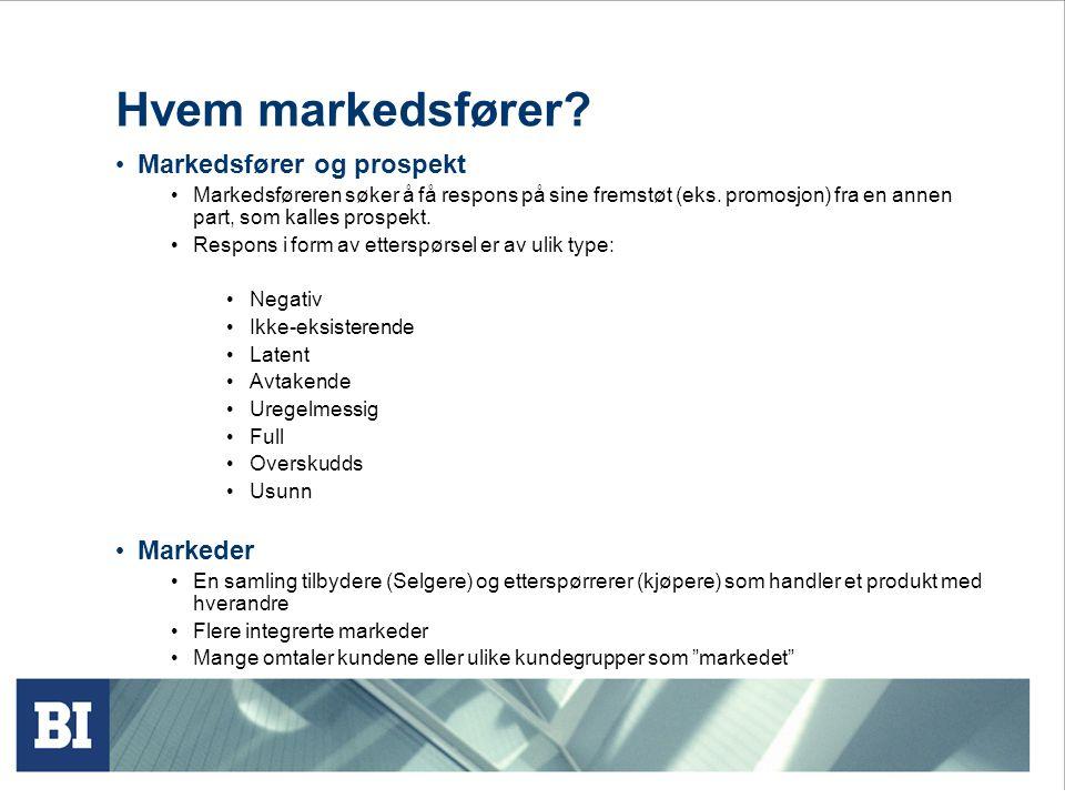 Hvem markedsfører? • Markedsfører og prospekt • Markedsføreren søker å få respons på sine fremstøt (eks. promosjon) fra en annen part, som kalles pros