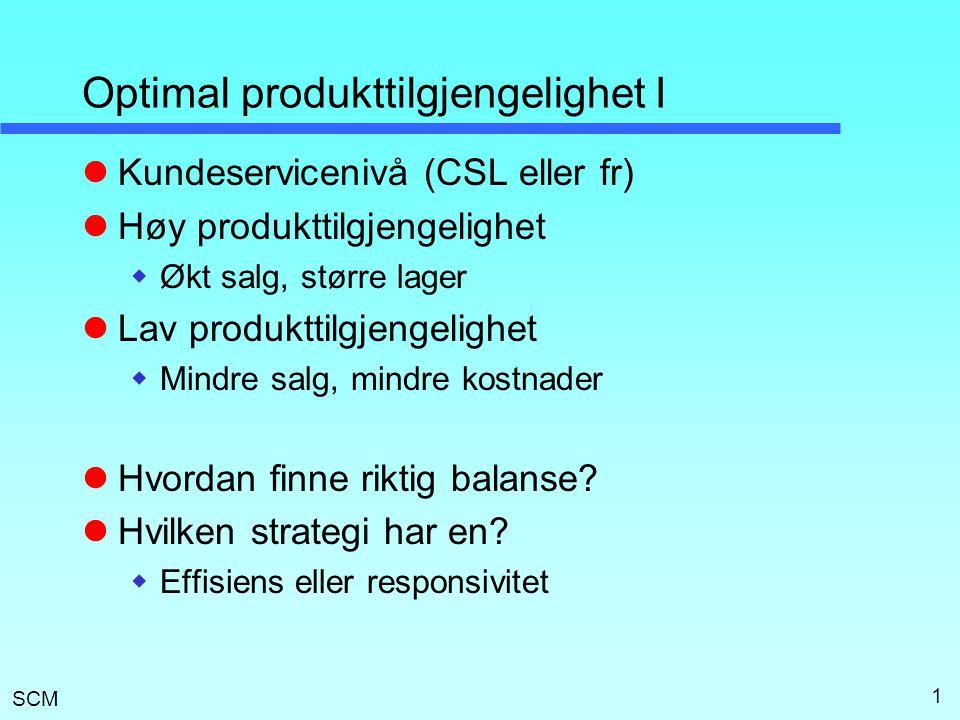 SCM 1 Optimal produkttilgjengelighet I  Kundeservicenivå (CSL eller fr)  Høy produkttilgjengelighet  Økt salg, større lager  Lav produkttilgjengel