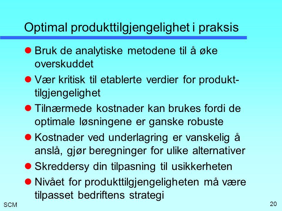 SCM 20 Optimal produkttilgjengelighet i praksis  Bruk de analytiske metodene til å øke overskuddet  Vær kritisk til etablerte verdier for produkt- t