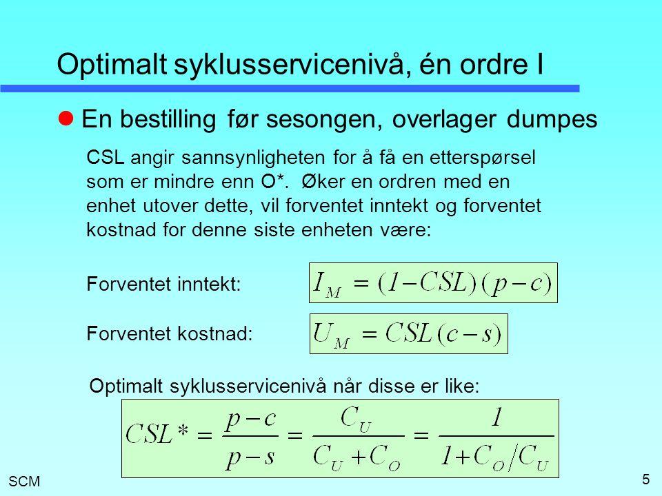 SCM 16 Quick Response, simulering Enkel ordre, hele bestilling før sesongen P = 14,  D = 15, L = 30 Todelt ordre, siste bestilling i sesongen P 1 = 7, P 2 = 7,  D = 15, L = ca.1 Todelt ordre, siste bestilling i sesongen P 1 = 7,  D1 = 15, P 2 = 7,  D2 = 3, L = ca.1 24 034 27 085 27 371 Overskudd CSL = 0,94 Ved gitt CSL vil oppsplitting av ordre medfører mindre totalt bestillingsvolum, mindre overlager ved sesongens slutt og høyere overskudd