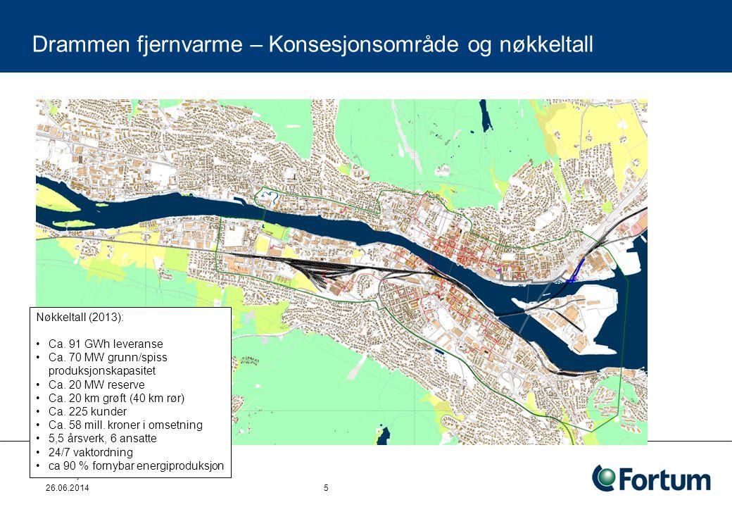 Fortum fjernvarme AS 26.06.2014 5 Nøkkeltall (2013): •Ca. 91 GWh leveranse •Ca. 70 MW grunn/spiss produksjonskapasitet •Ca. 20 MW reserve •Ca. 20 km g