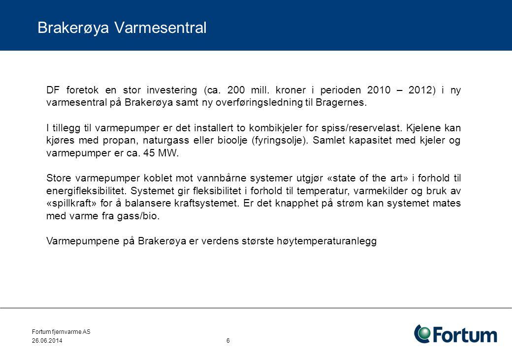 Fortum fjernvarme AS 26.06.2014 6 Brakerøya Varmesentral DF foretok en stor investering (ca. 200 mill. kroner i perioden 2010 – 2012) i ny varmesentra