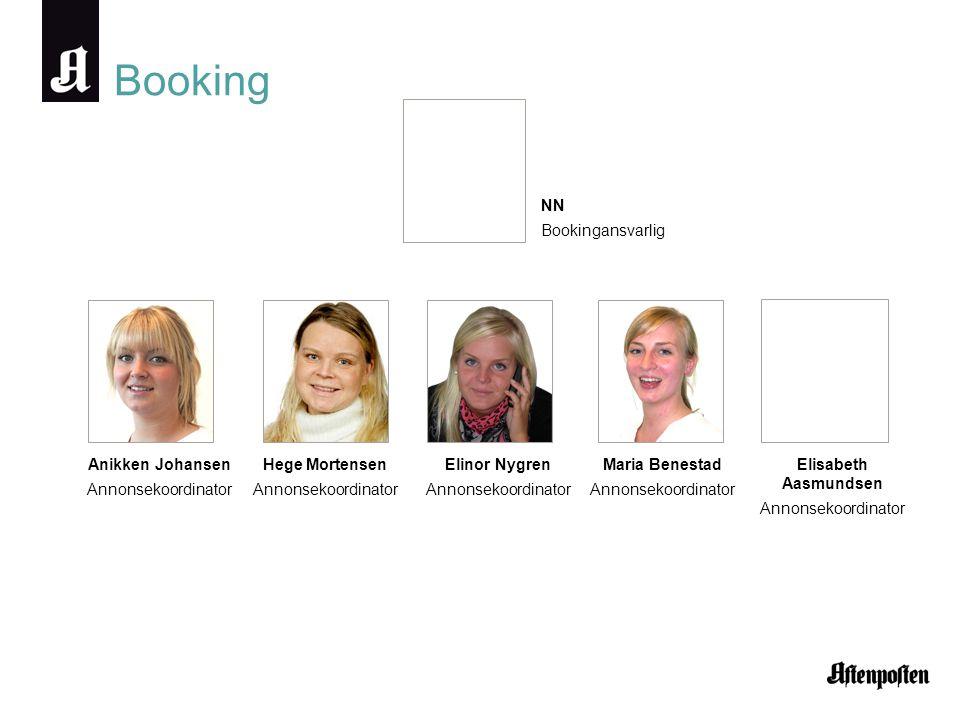 Booking NN Bookingansvarlig Anikken Johansen Annonsekoordinator Hege Mortensen Annonsekoordinator Elinor Nygren Annonsekoordinator Maria Benestad Anno