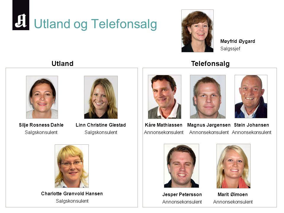 Utland og Telefonsalg Møyfrid Øygard Salgssjef Silje Rosness Dahle Salgskonsulent Linn Christine Glestad Salgskonsulent Charlotte Grønvold Hansen Salg