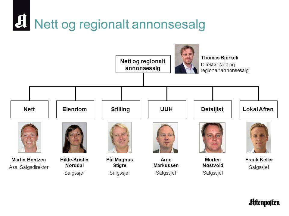 Nett og regionalt annonsesalg Nett Nett og regionalt annonsesalg Thomas Bjerkeli Direktør Nett og regionalt annonsesalg Martin Bentzen Ass. Salgsdirek