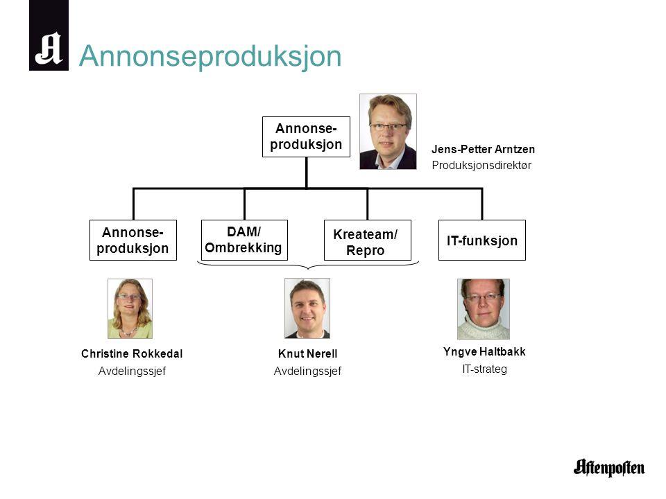 Annonseproduksjon Annonse- produksjon DAM/ Ombrekking Kreateam/ Repro IT-funksjon Christine Rokkedal Avdelingssjef Knut Nerell Avdelingssjef Yngve Hal