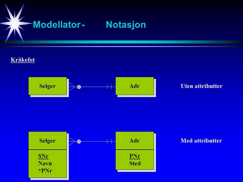 Modellator-Notasjon Selger Adr Kråkefot Uten attributter Selger Adr Med attributter SNr Navn *PNr PNr Sted