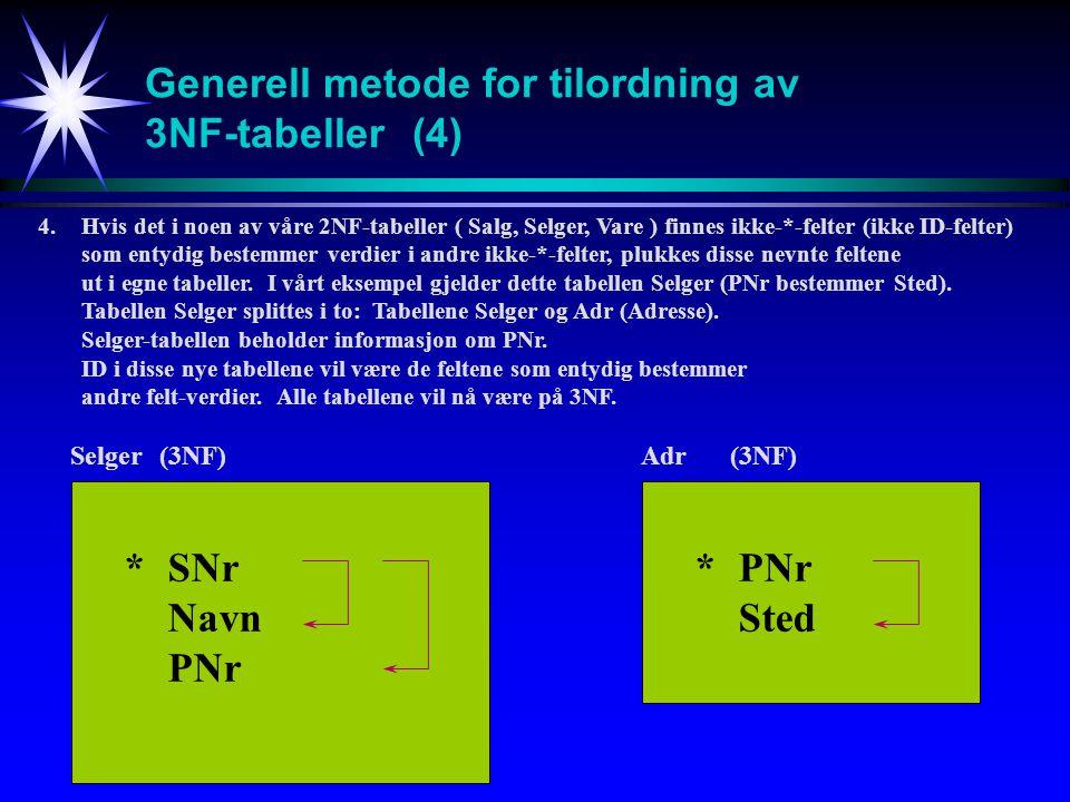 Generell metode for tilordning av 3NF-tabeller(4) 4.Hvis det i noen av våre 2NF-tabeller ( Salg, Selger, Vare ) finnes ikke-*-felter (ikke ID-felter) som entydig bestemmer verdier i andre ikke-*-felter, plukkes disse nevnte feltene ut i egne tabeller.