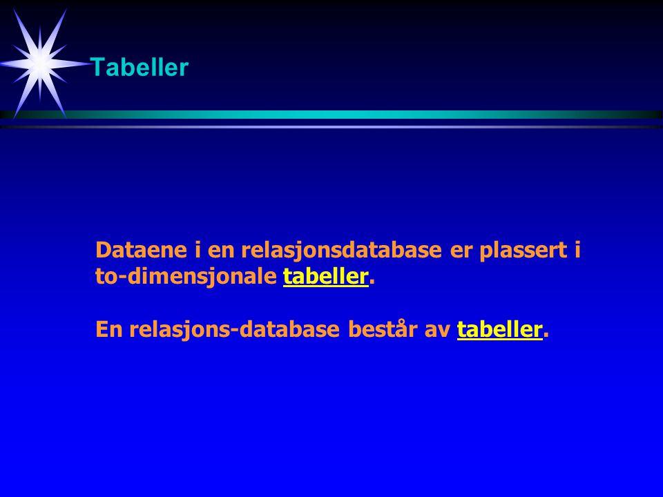 Tabeller Dataene i en relasjonsdatabase er plassert i to-dimensjonale tabeller. En relasjons-database består av tabeller.