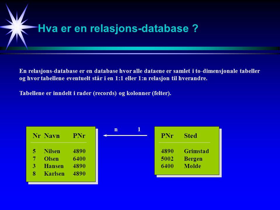 Hva er en relasjons-database ? NrNavnPNr 5Nilsen4890 7Olsen6400 3Hansen4890 8Karlsen4890 PNrSted 4890Grimstad 5002Bergen 6400Molde En relasjons-databa