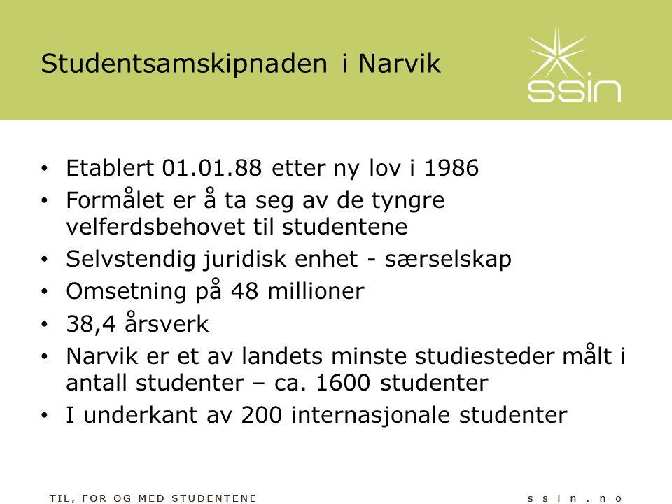 Studentsamskipnaden i Narvik • Etablert 01.01.88 etter ny lov i 1986 • Formålet er å ta seg av de tyngre velferdsbehovet til studentene • Selvstendig