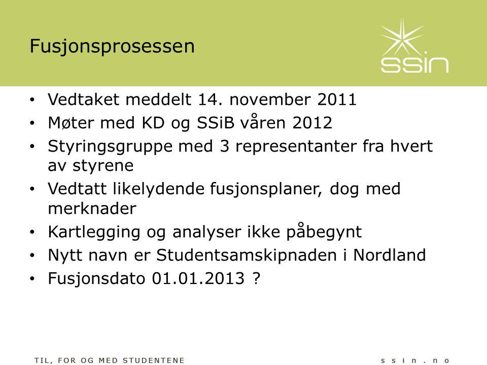 Fusjonsprosessen • Vedtaket meddelt 14. november 2011 • Møter med KD og SSiB våren 2012 • Styringsgruppe med 3 representanter fra hvert av styrene • V