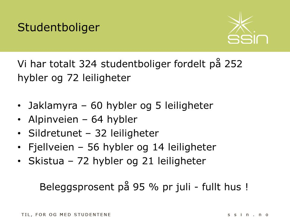Studentboliger Vi har totalt 324 studentboliger fordelt på 252 hybler og 72 leiligheter • Jaklamyra – 60 hybler og 5 leiligheter • Alpinveien – 64 hyb