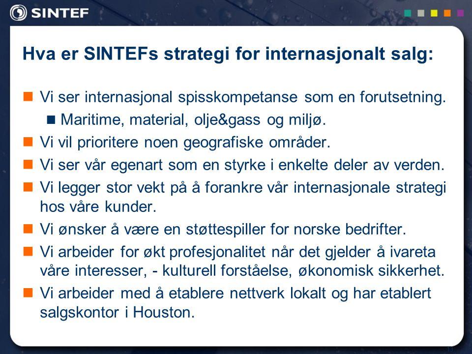 13 Hva er SINTEFs strategi for internasjonalt salg:  Vi ser internasjonal spisskompetanse som en forutsetning.  Maritime, material, olje&gass og mil
