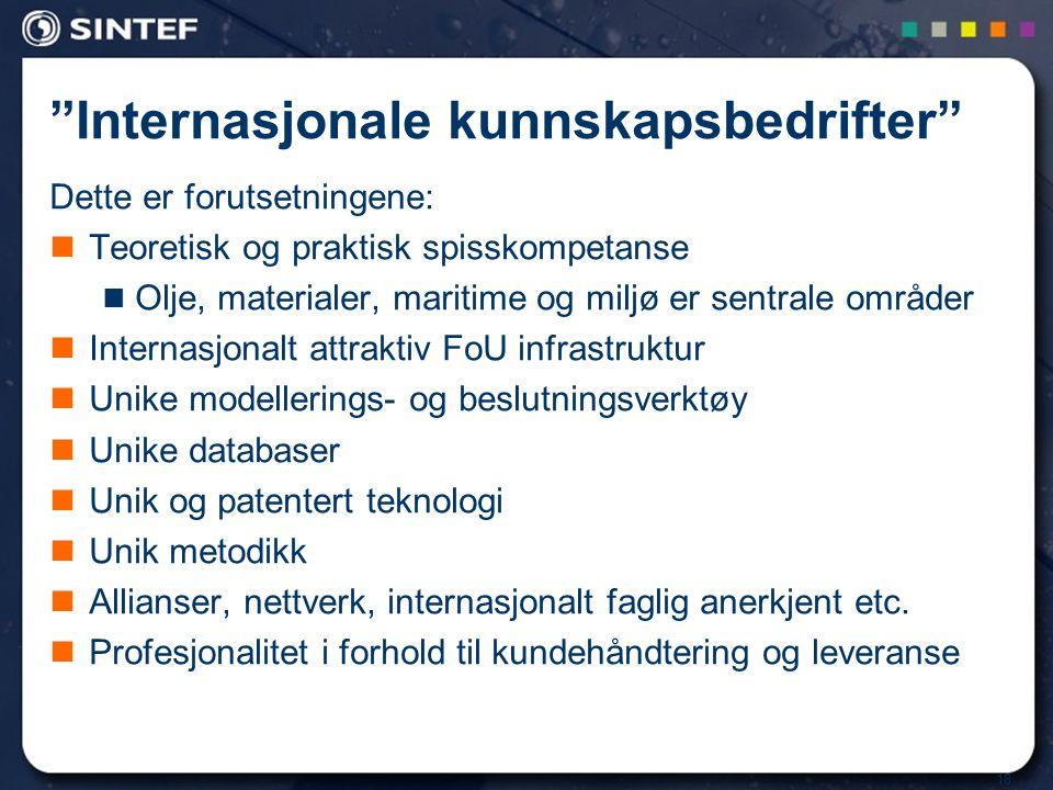 18 Internasjonale kunnskapsbedrifter Dette er forutsetningene:  Teoretisk og praktisk spisskompetanse  Olje, materialer, maritime og miljø er sentrale områder  Internasjonalt attraktiv FoU infrastruktur  Unike modellerings- og beslutningsverktøy  Unike databaser  Unik og patentert teknologi  Unik metodikk  Allianser, nettverk, internasjonalt faglig anerkjent etc.