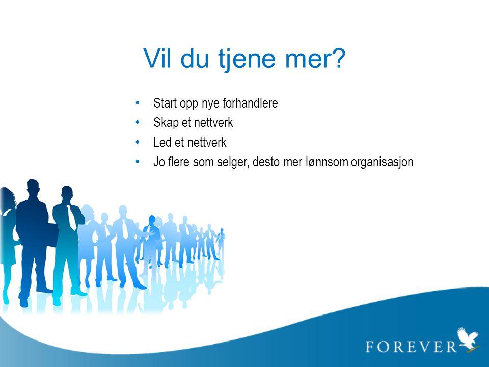 Vil du tjene mer? • Start opp nye forhandlere • Skap et nettverk • Led et nettverk • Jo flere som selger, desto mer lønnsom organisasjon
